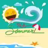 Hello Summer. Hot summer beach vector Stock Images