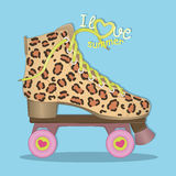 Hello summer. I love summer. Vector. Image rolls with leopard print. Roller Skates. Roller skating. Royalty Free Stock Image