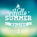 Hello Summer, i've been waiting for you inspiration quote on blur background. Vector typography design element Royalty Free Stock Photos