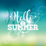 Hello Summer, i've been waiting for you inspiration quote on blur background. Stock Photos
