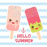 Hello Summer ice cream, ice lolly, Kawaii with pink cheeks and winking eyes, pastel colors card design, banner template on blue wa. Ves sea ocean background Stock Image