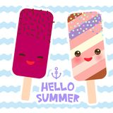 Hello Summer ice cream, ice lolly, Kawaii with pink cheeks and winking eyes, pastel colors card design, banner template on blue wa. Ves sea ocean background Royalty Free Stock Images