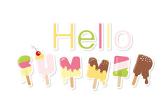 Hello summer ice cream letters isolated on white. Festive paper cut out stickers. For posters, flyers. Vector Stock Photos