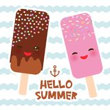Hello Summer ice cream, ice lolly, Kawaii with pink cheeks and winking eyes, pastel colors card design, banner template on blue wa. Ves sea ocean background Stock Photo