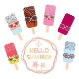 Hello Summer ice cream, ice lolly set, Kawaii with sunglasses pink cheeks and winking eyes, pastel colors on white background. Vec. Tor illustration Stock Photography