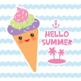 Hello Summer Ice cream waffle cone Kawaii funny muzzle with pink cheeks and eyes, pastel colors card design, banner template on bl. Ue waves sea ocean background Royalty Free Stock Photo