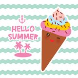 Hello Summer Ice cream waffle cone Kawaii funny muzzle with pink cheeks and winking eyes, pastel colors card design, banner templa. Te on blue waves sea ocean Royalty Free Stock Image