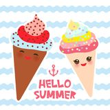 Hello Summer Ice cream waffle cone Kawaii funny muzzle with pink cheeks and winking eyes, pastel colors card design, banner templa. Te on blue waves sea ocean Royalty Free Stock Images
