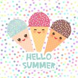 Hello Summer Ice cream waffle cone Kawaii funny muzzle with pink cheeks and winking eyes, pastel colors on white polka dot backgro. Und. Vector illustration Stock Photo