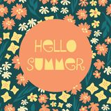 Hello Summer illustrated feminine vector banner collage style with text, colorful various flowers beige blue teal yellow orange vector illustration