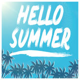Hello Summer illustration, background. Fun quote. Fashion the best poster. Handwritten banner, logo or label. Colorful hand drawn Royalty Free Stock Images