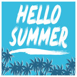 Hello Summer illustration, background. Fun quote. Fashion the best poster. Handwritten banner, logo or label. Colorful hand drawn. Royalty Free Stock Photography