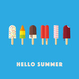 Hello Summer Illustration with popsicles and ice lollies Stock Photo
