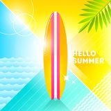 Hello summer - illustration. Sufrboard on a abstract background. 80`s retro style illustration.Tropical vacation flat design Stock Photo