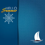 Hello summer. Illustration of wavy sea to sail. Background Stock Image