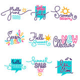 Hello Summer, June, July. Doodle handdrawn lettering composition and logo Royalty Free Stock Photo