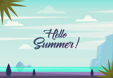 Hello summer. Landscape with text. Vector. Tropical beach with sea skyline, mountains, jungle plants, palm tree, clouds. Sunny weather. Summer paradise Stock Photos