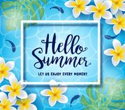 Hello Summer Let Us Enjoy Every Moment Greeting Inside Frame Floating in Water Background. With Fish, Flowers and Leaves. Vector Illustration Stock Photo