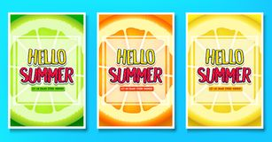 Hello Summer Let Us Enjoy Every Moment Greeting Posters with Lime, Orange and Lemon Fruit Background Stock Image