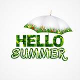 Hello summer lettering background with summer umbrella. Vector illustration. Green hello summer text with umbrella. Vector illustration vector illustration