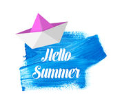 Hello summer lettering on blue stain Stock Photo