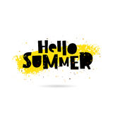 Hello summer. Lettering. Concept. Hello summer. Trend lettering. Vector illustration on white background with a smear of yellow ink. Summertime concept Stock Photo