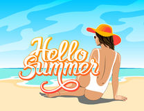 Hello Summer lettering with girl Royalty Free Stock Photography