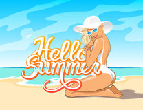 Hello Summer lettering with girl Royalty Free Stock Photo