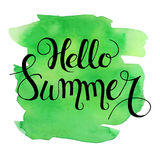 Hello summer lettering on green watercolor stroke. Vector illustration.Summer Watercolor Design.Summer Typography Lettering. Aquarelle Style.Hello Summer vector Royalty Free Stock Images