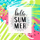 Hello summer. Lettering on Hand drawn Abstract background. Vector illustration Royalty Free Stock Photos