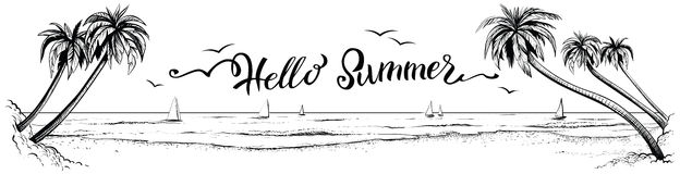 Hello summer, lettering with panoramic beach view. Vector illustration. royalty free illustration