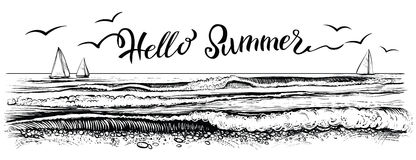 Hello summer, lettering with panoramic view of ocean or sea waves and yachts. Vector illustration. Royalty Free Stock Photos