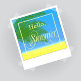 Hello summer lettering in photo frame Stock Photography