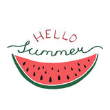 Hello summer - lettering poster with hand drawn watermelon. V Stock Image
