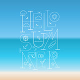 Hello Summer Lettering poster. Typographic sea background Stock Photos