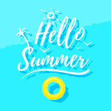 Hello summer lettering and rubber ring on water Royalty Free Stock Photo