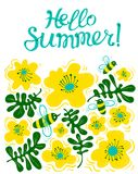 Hello summer lettering. Seasonal card with cute bee and flowers. In children style. Vector illustration for summer placards, posters, labels, t-shirts Vector Illustration