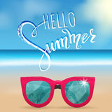 Hello summer lettering, sunglasses. Tropical background, blue ocean landscape Stock Photography