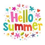 Hello summer. Lettering text design vector illustration