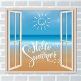 Hello summer lettering. Tropical background, blue ocean landscape Royalty Free Stock Images