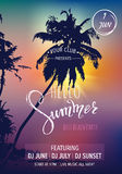 Hello summer lettering. Tropical palms, sunset background. Party invitation template Stock Images