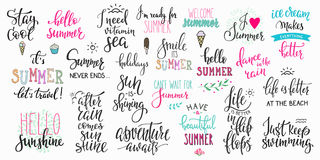 Hello summer lettering typography big set Royalty Free Stock Image
