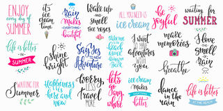 Hello summer lettering typography big set Royalty Free Stock Photo