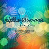 Hello Summer lettering typography on blurred sunset with bokeh lights, vector illustration Royalty Free Stock Photos