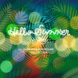 Hello Summer lettering typography on blurred sunset with bokeh lights, vector illustration Stock Images
