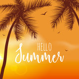 Hello Summer Lettering vacation and travel. Tropical poster with sunset or sunrise bright background and palm exotic. Island Stock Photo