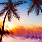 Hello Summer Lettering vacation and travel. Tropical poster with sunset or sunrise bright background and palm exotic island.  Stock Image