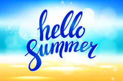 Hello Summer lettering vector. abstract background. Royalty Free Stock Images