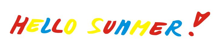 Hello summer, lettering, vector icon. Concept. Isolated object. Royalty Free Stock Photography