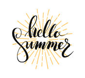 Hello summer lettering. Vector illustration on white background vector illustration